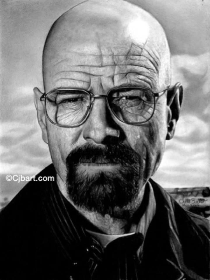 Chris Baker pencil drawing Walter White Breaking Bad