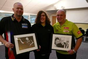 Chris Baker with Raymond van Barneveld and Michael van Gerwen