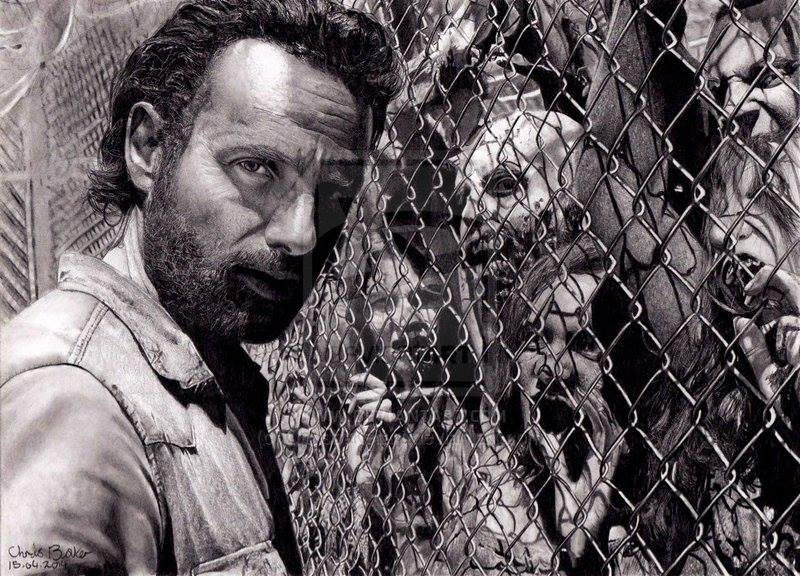 Chris Baker pencil drawing Rick Grimes of The Walking Dead
