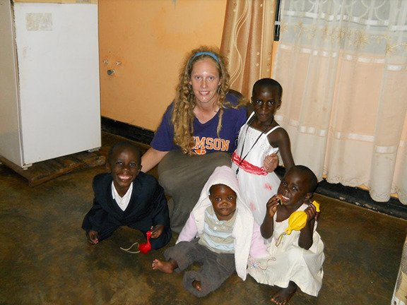 Katie Oswald with Wakiso Host family