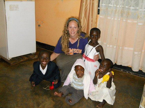 Katie Oswald with Wakiso Host family