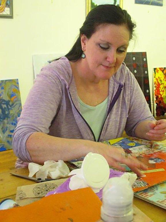 Kimberly Gerry-Tucker at art table