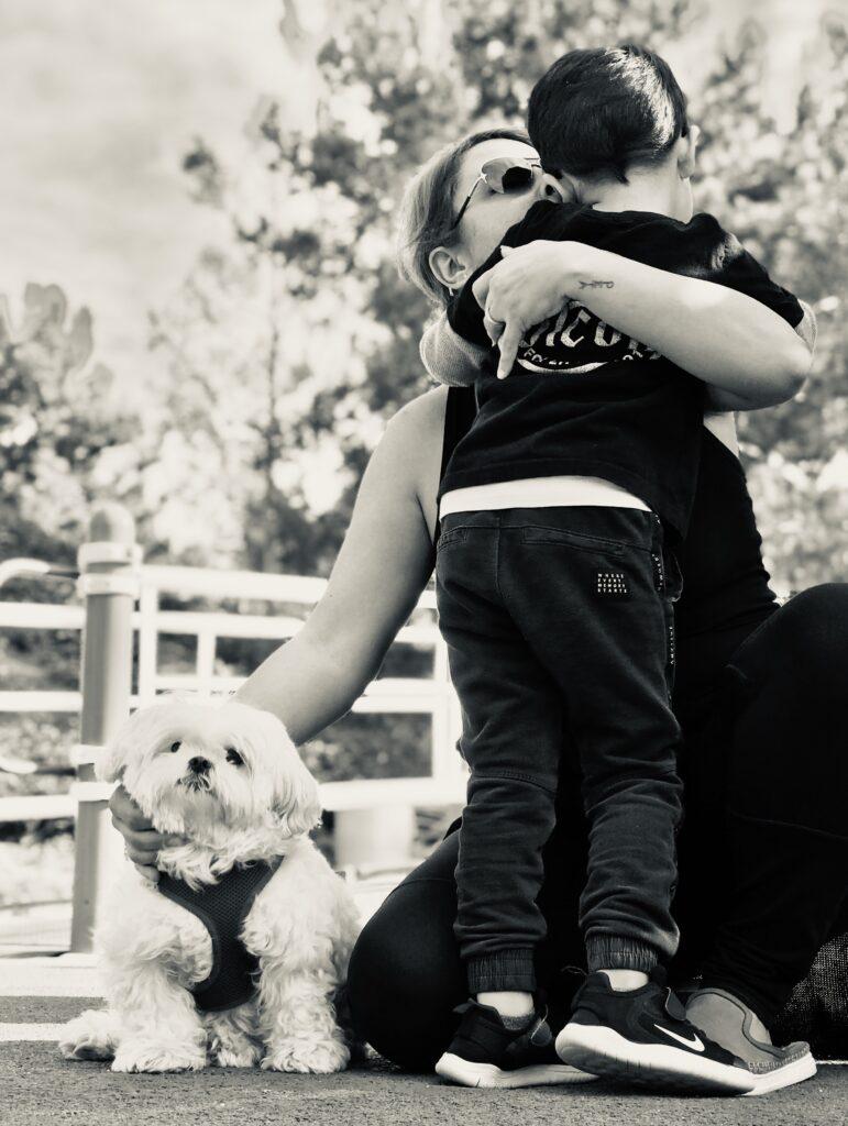 My son Kasra with Kaya and our dog Shadi
