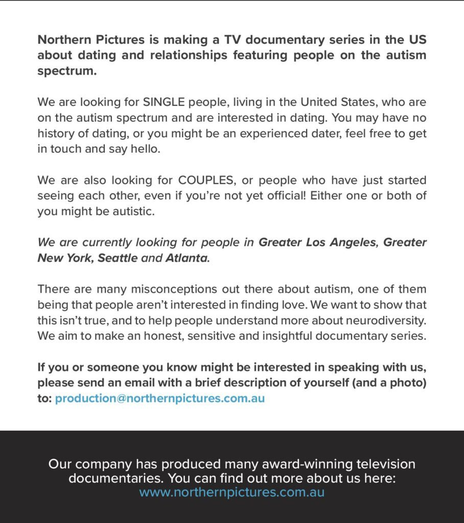Casting Call for New Documentary series about dating and autism flyer