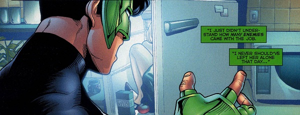 Image result for Green Lantern Finds His Girlfriend Stuffed in the Fridge