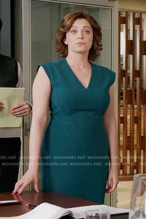 rebeccas-teal-vneck-sheath-dress