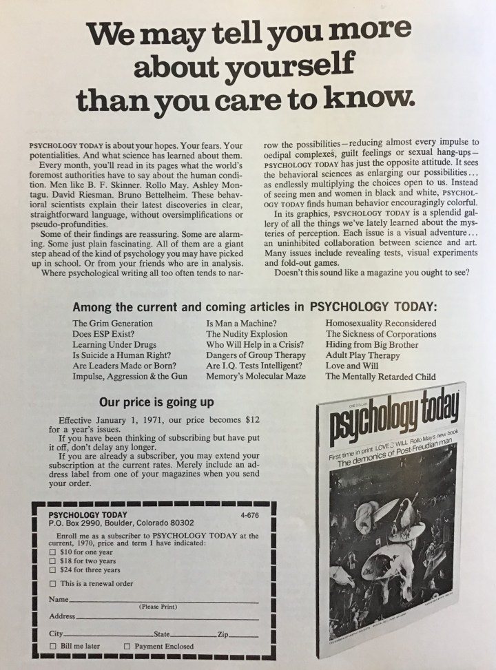Let's Read Psychology Today, December 1970! – The Avocado