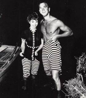 Debbie-Reynolds-and-Leslie-Nielsen-on-the-set-of-Tammy-and-the-Bachelor