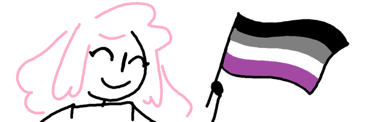 A simple drawing of a girl with pink hair smiling with her eyes closed, holding an asexual flag.