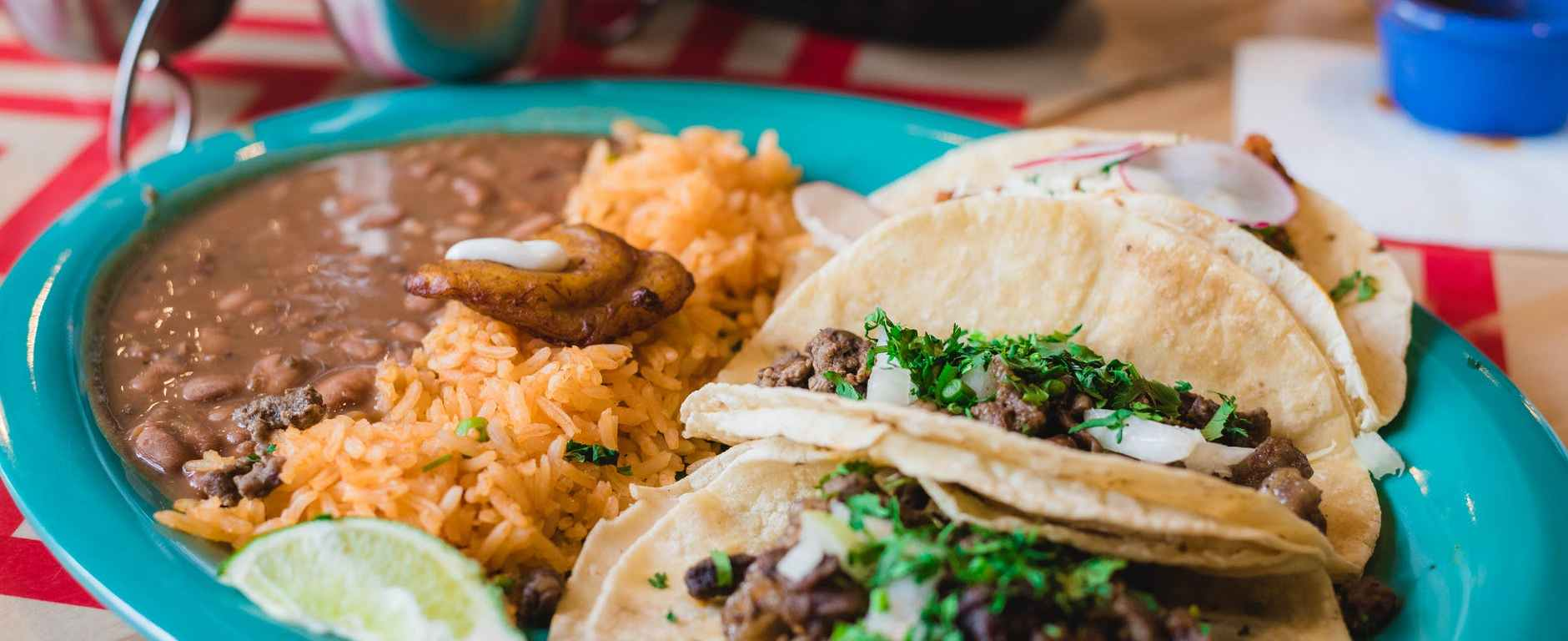 close up photo of rice and tacos