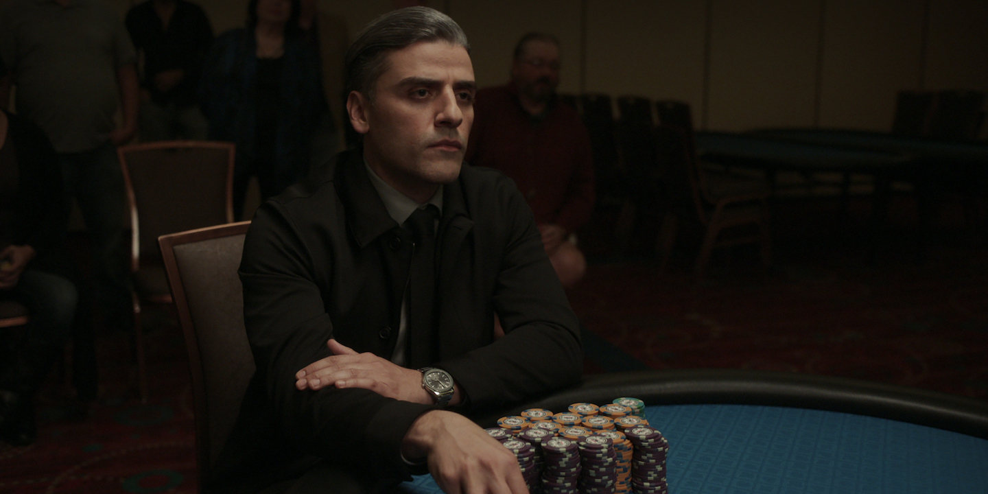William Tell (Oscar Isaac) sits at a poker table in 'The Card Counter'