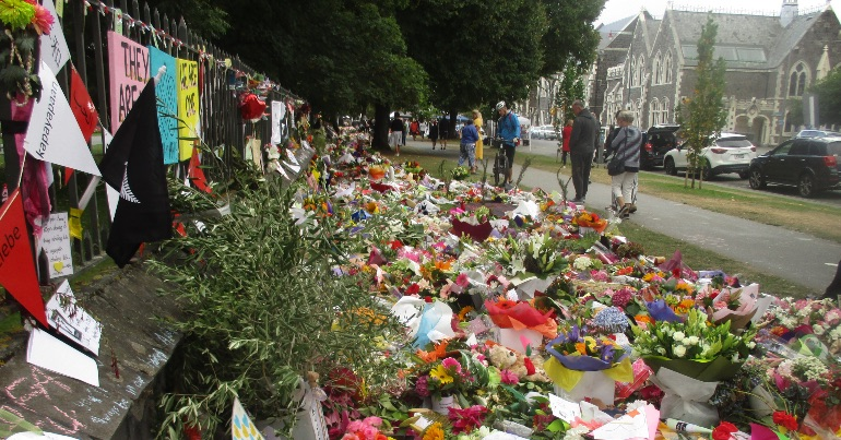 A carpet of flowers laid by members of the public in Christchurst after a far-right terrorist attack left 51 people dead.