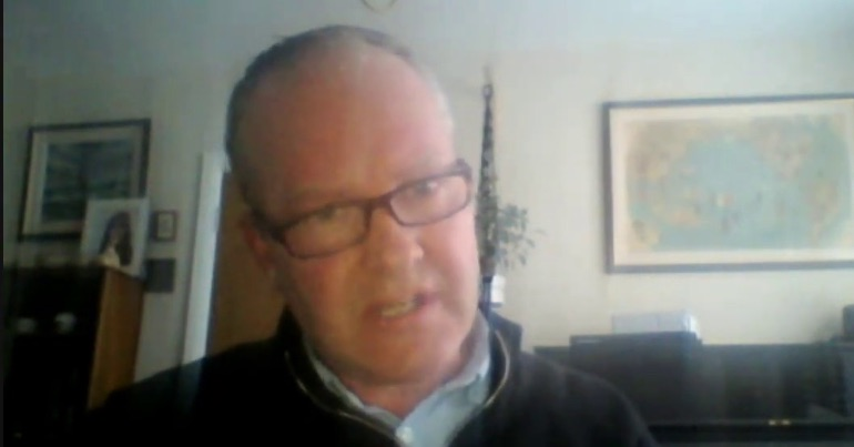 A photo of Dr. Marcus de Brun during his appearance on the YouTube channel of far-right activist Rowan Croft.