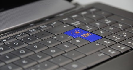 A photo of a laptop showing one of the keys coloured blue with GDPR written on it. The leak to Gript, if accurate and which the gardaí are investigating, would represent a breach of GDPR laws.