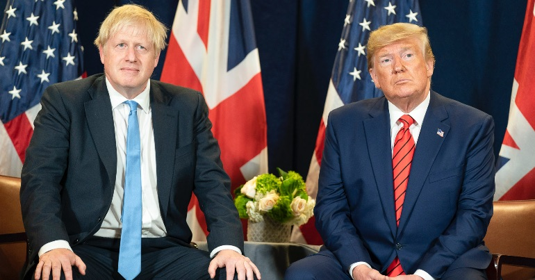 A photo of British prime minister Boris Johnson and US president Donald Trump, both of whom have overseen a rise in racism, reactionary politics as well as highlighting the problems inherent in liberalism.