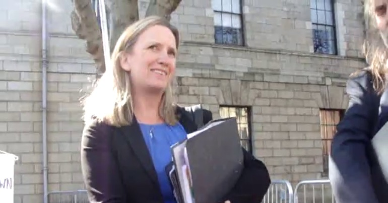 A photo of Anti-Corruption Ireland founder Gemma O'Doherty outside the Four Courts in Dublin.