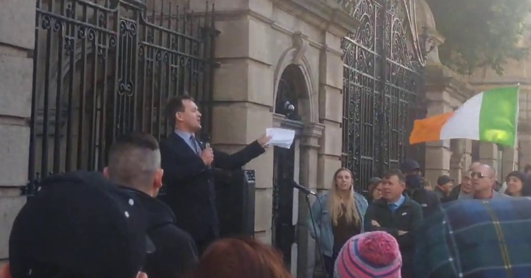 A photo of National Party leader Justin Barrett at the far-right Let Ireland Live rally.