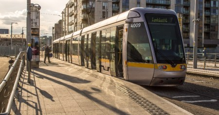 A photo of the Luas, which anti-mask protestors boarded and attempted to intimidate passengers into removing their masks.