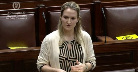 "A photo of Helen McEntee in the Seanad where she claimed that reforming Ireland's citizenship laws could have ""unintended consequences""."
