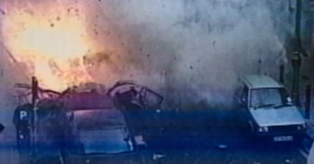A photo from a security camera showing one an explosion caused by the London nail bomber.