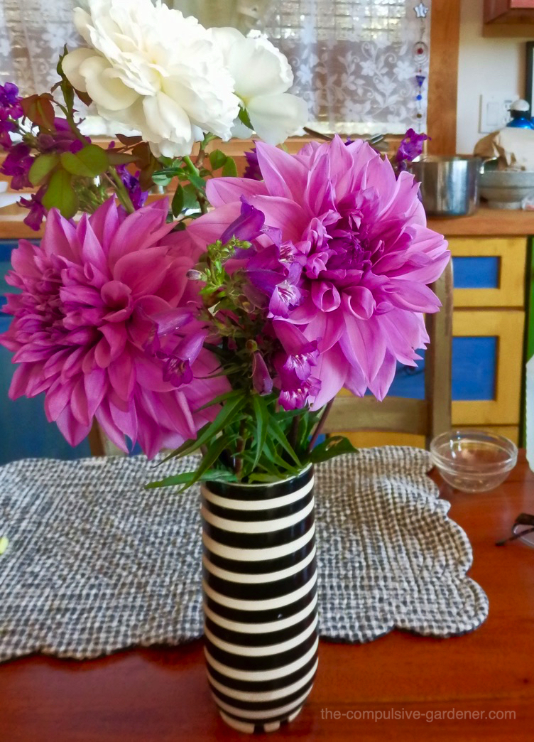 Garden floral bouquet with dahlias, roses, penstemon