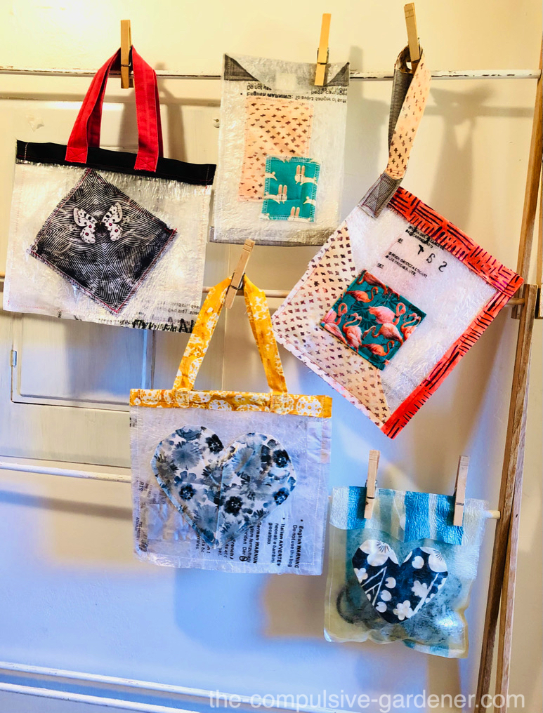 Upcycled micro bags or tiny totes made from plastic bag waste and fabric scraps