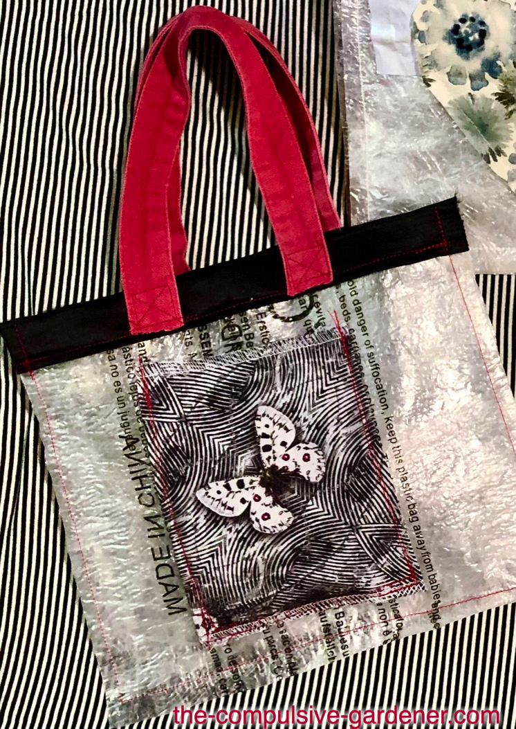 Upcycled micro bag made from plastic bag waste and fabric scraps