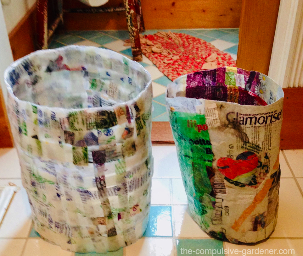 Upcycled trash cans from plastic bags