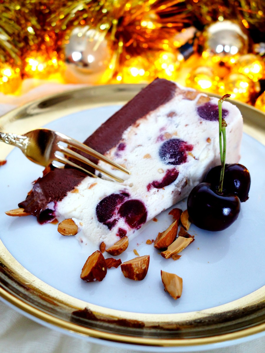 5 Ingredient Cherry Chocolate Almond Ice-Cream Christmas Cake