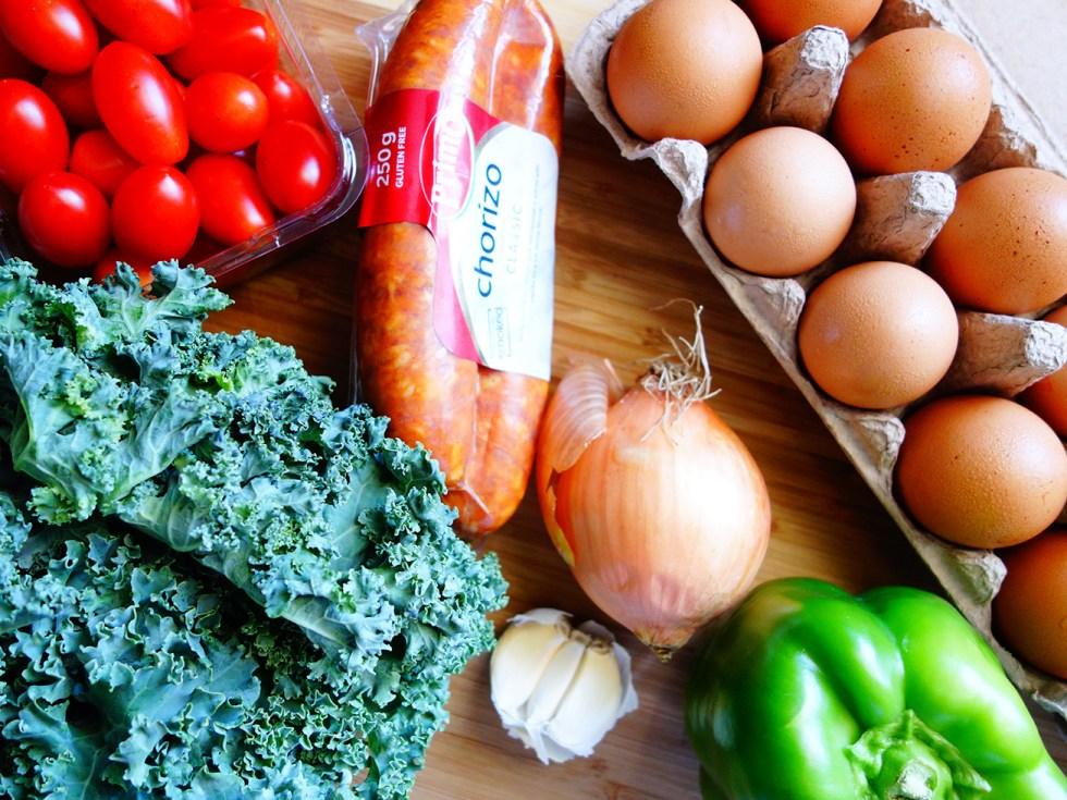 Meal Prep Big Breakfast Paleo Scramble Chorizo and Kale Ingredients