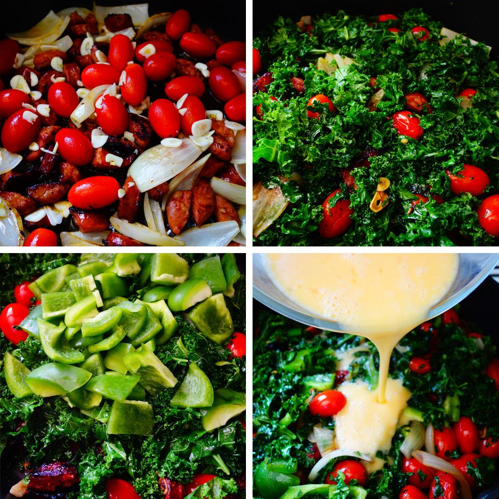 Big Breakfast Paleo Scramble Chorizo and Kale Ingredients Steps