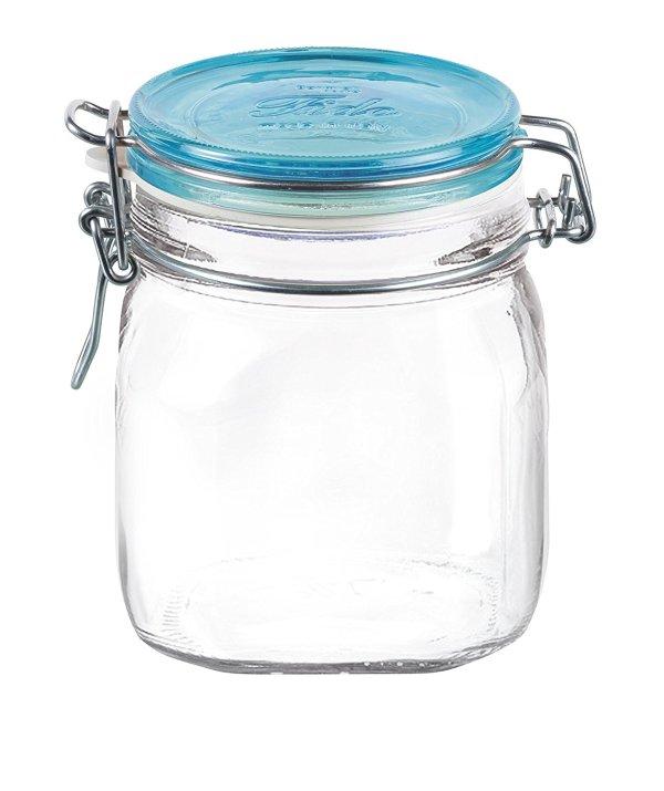 Bormioli Rocco Fido Square Jar with Blue Lid, 25-1/4-Ounce