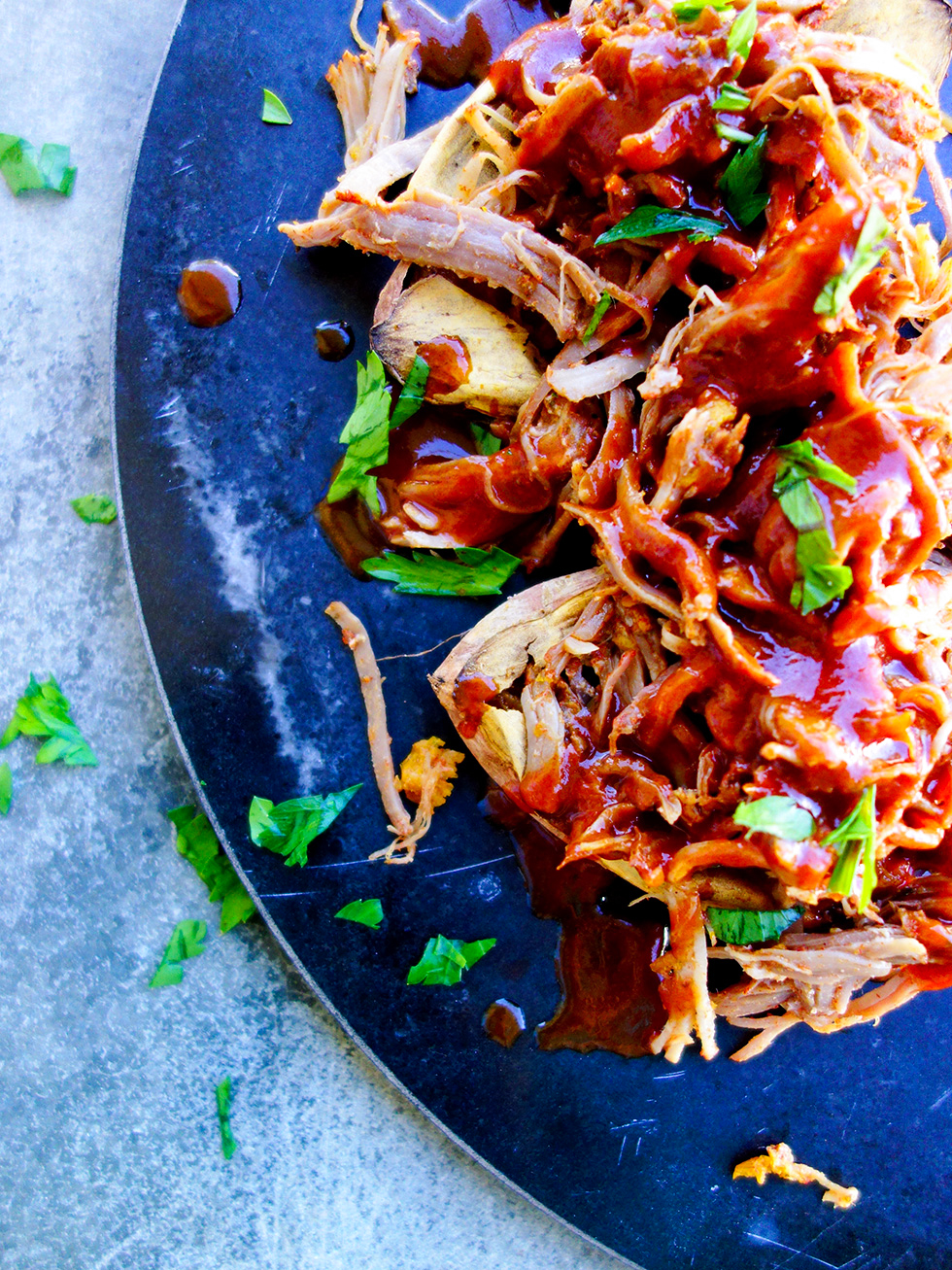 Pressure Cooked Pulled Pork with Sticky Orange BBQ Sauce
