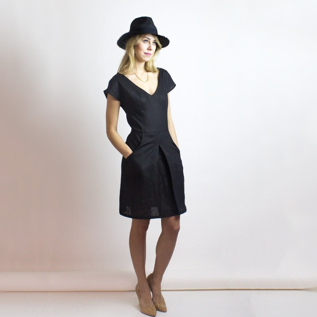 Alexa Dress Black Organic Cotton & Organic Linen from Simone's Rose SS16 Collection | eco-conscious and sustainable women's fashion label made in downtown Toronto