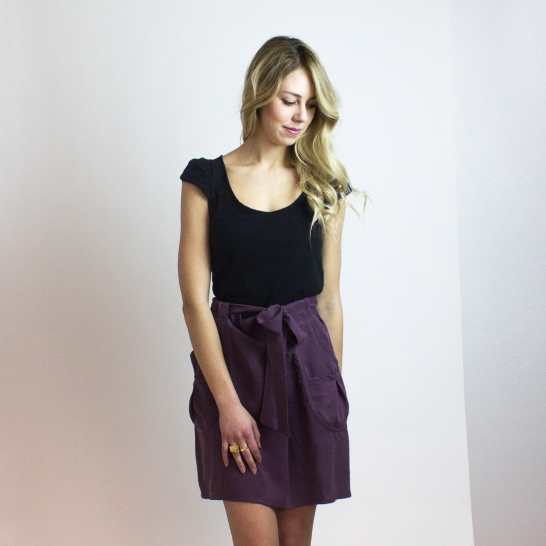 Scallop Tee (black bamboo stretch jersey) & Plum Rula Skirt from Simone's Rose SS16 Collection | eco-conscious and sustainable women's fashion label made in downtown Toronto