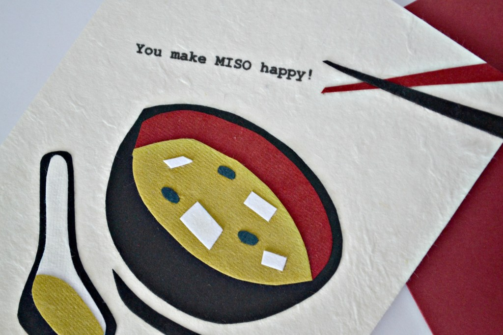 """You Make Miso Happy"" Handmade Card from Cambio Market. Fair Trade, made in the Philippenes. 