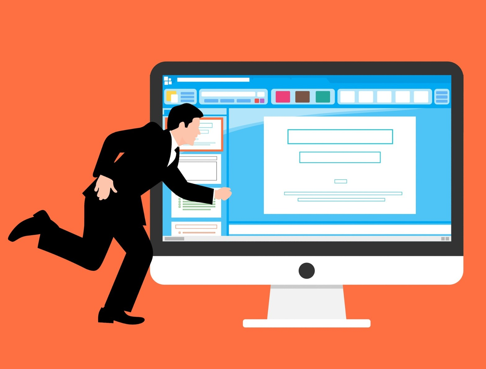 graphic of a person in a suit running in front of a computer monitor
