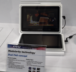 MSI demo dual screen tablet at CeBIT e-Reading Hardware
