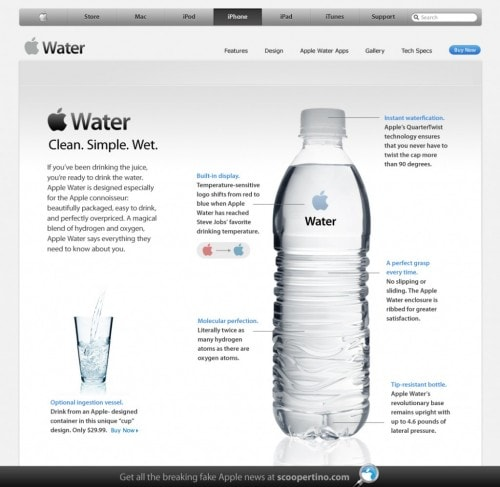 Apple to release iWater humor