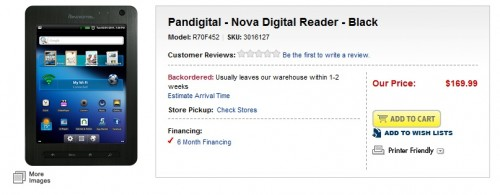 Pandigital Nova now shipping from Best Buy e-Reading Hardware