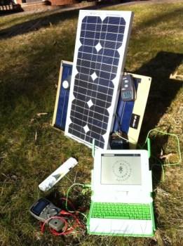 Running an XO-1.75 on a Solar Panel e-Reading Hardware