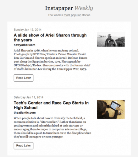 Instapaper Launches New Weekly Digest Aggregators Save for Later
