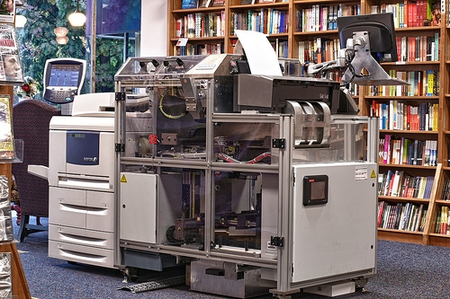 an Espresso book machine installed in Politics and Prose Bookstore in DC
