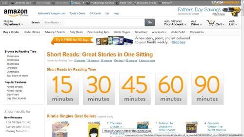 "Amazon Launches New Kindle Store Section Devoted to eBook Singles - ""Short Reads"" Amazon Kindle"