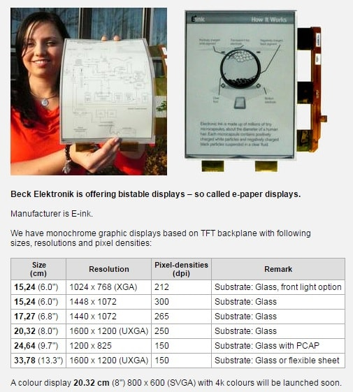 E-ink Screens Now Available From a German Electronics Wholesaler E-ink e-Reading Hardware
