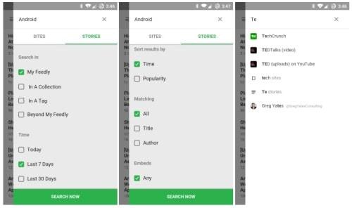 Feedly v27.0.3 Adds Google Now Integration Powered Search Aggregators Google Reader Alternatives