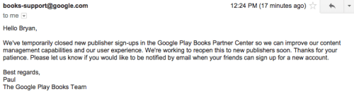 "Google Shutters Its Play Books Publisher Portal in Order to ""Improve Its Content Management Capabilities"" Google Books Piracy"