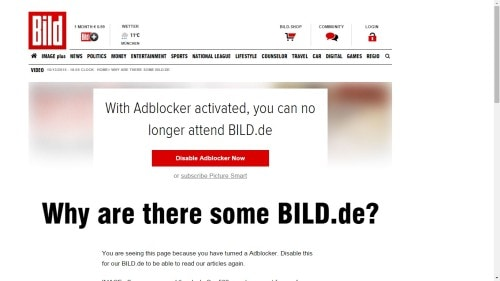German Publisher Axel Springer Bans Ad-Blocking Users from Bild Website Advertising