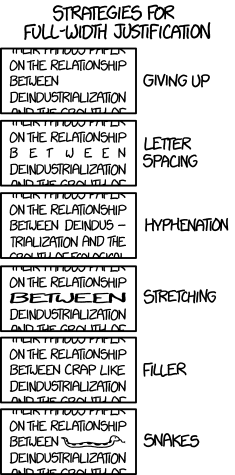 Xkcd, Kerning, Full-Width Justification, Kerning, and Light Sabers eBook Formatting Font humor