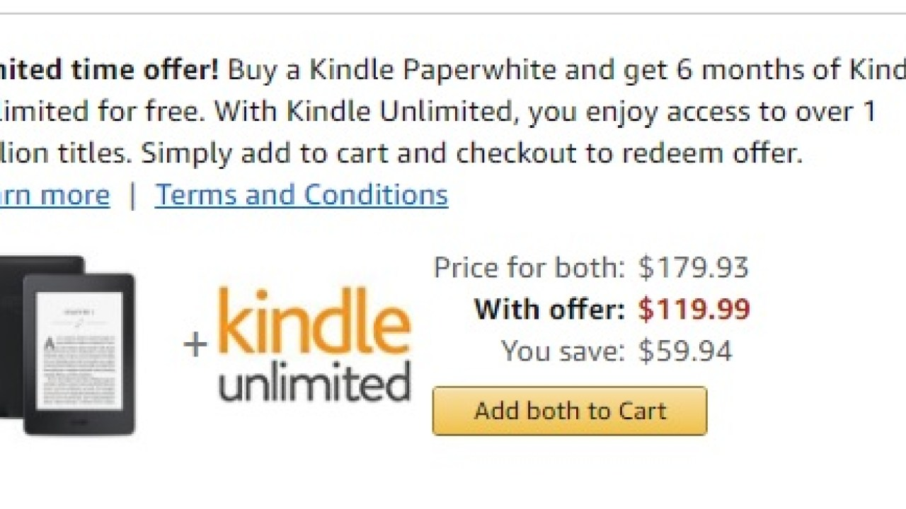 Kindle Paperwhite Now Comes With 6 Months Kindle Unlimited